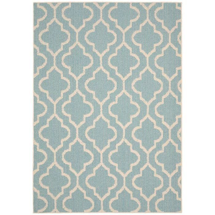 Double Quatrefoil Teal 5x7 Indoor Outdoor Rug Outdoor Rugs Indoor Outdoor Rugs Rugs