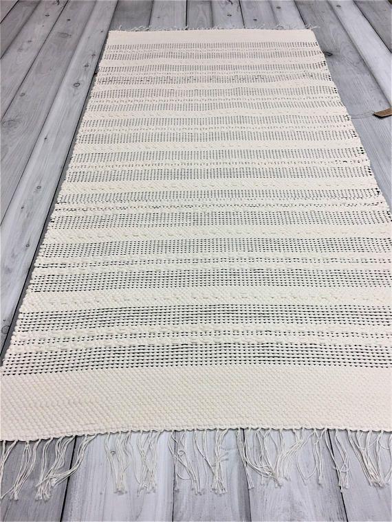 Black White Scandinavian Rugs Cotton Kitchen Rug Runner Handwoven Nursery Bedside Washable Handmade Modern Rag Ready To Ship This
