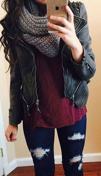 Leather Jacket // Grey Wool Scarf // Burgundy Top // Ripped Skinny Jeans