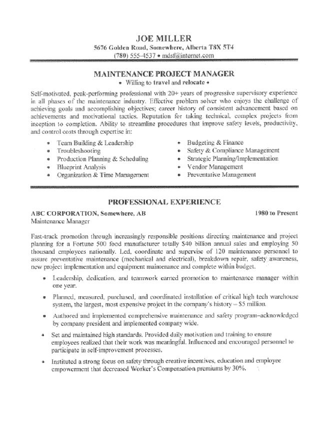 maintenance manager resume sle page 1 resume