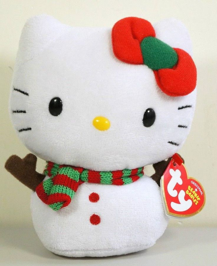TY Original Beanie Babies Plush #HelloKitty Snowman ^^