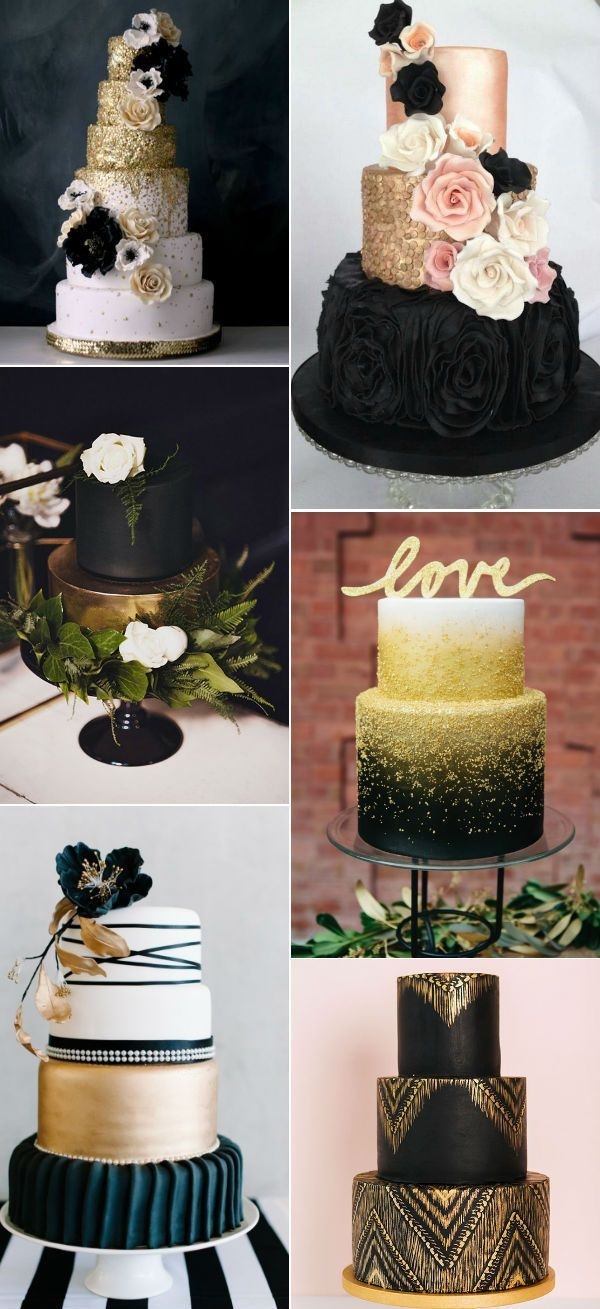 pretty black and gold wedding cakes for 2016
