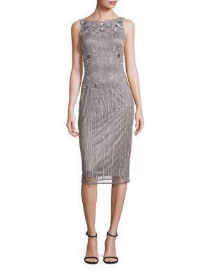 Theia - Sleeveless Sequin Dress grey wedding dress.