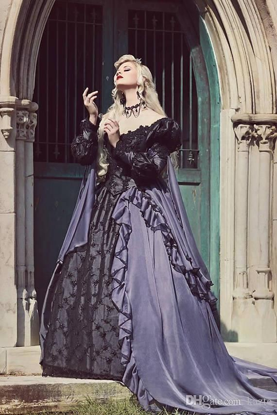 7e034cd2098aa Custom Grey And Black Gothic Sleeping Beauty Halloween Medieval Fantasy  Wedding Gown 2018 Plus Size Lace-up Long Sleeve Gothic Wedding Dress  Mermaid Wedding ...
