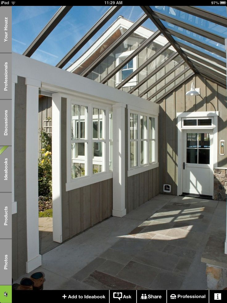A GREAT idea to connect a unattached garage, & get a sunroom/winter garden too!  Win win!