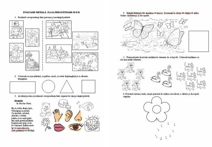 Materiale didactice de 10(zece): Evaluare iniţială, clasa pregătitoare-M.E.M.