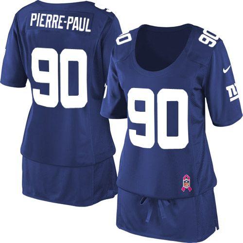 Women's Nike New York Giants #90 Jason Pierre-Paul Elite Royal Blue Breast Cancer Awareness Jersey $69.99