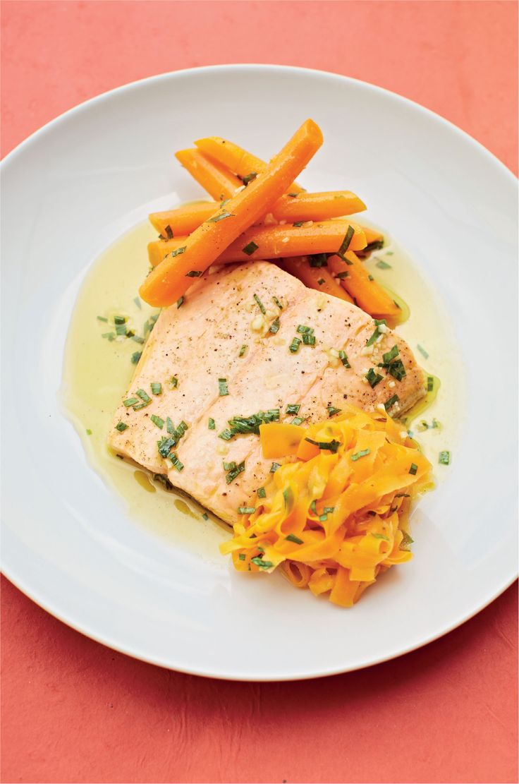 Salmon Poached In Tarragon Vinegar With Carrots In Brown Butter Recipe From  Fish Kitchen By Nathan
