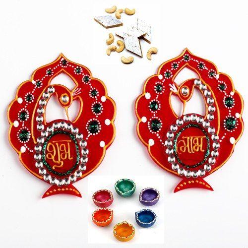 Peacock Shubh Labh with Diyas and Kaju Katli - Online Shopping for Diwali Pooja Accessories by Ghasitaram Gifts