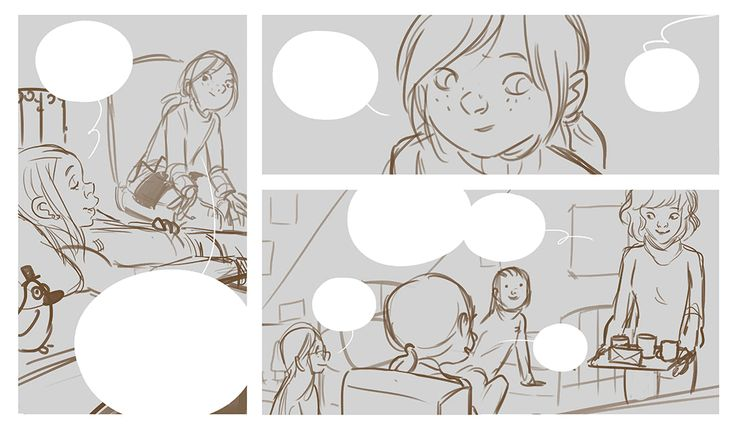From storyboard to the final page in colors. This is half a page, from Les Carnets de Cerise 3