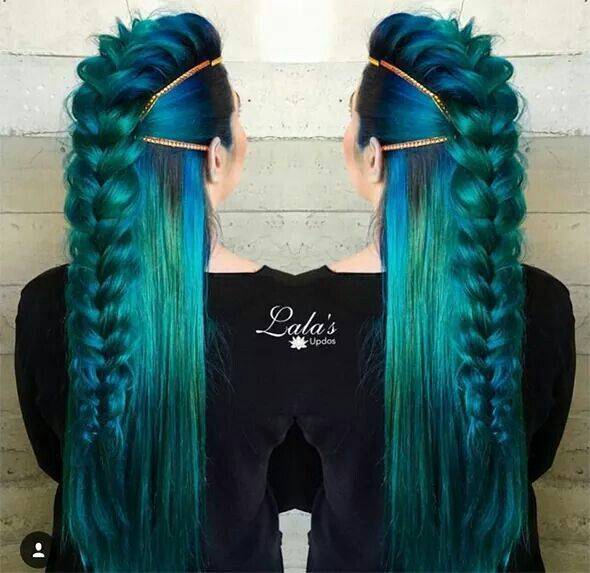 Mermaid viking! GORGEOUS! I love the Dutch braid mohawk look.