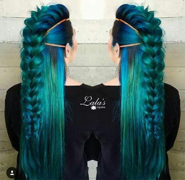 Mermaid viking! GORGEOUS! I love the Dutch braid mohawk look.
