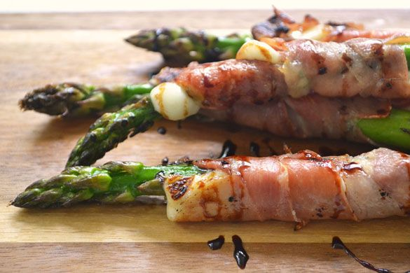 Grilled Asparagus with Queso Fresco & Prosciutto