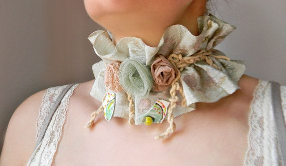 Pastel ruff collar Hand painted silk collar necklace Shabby