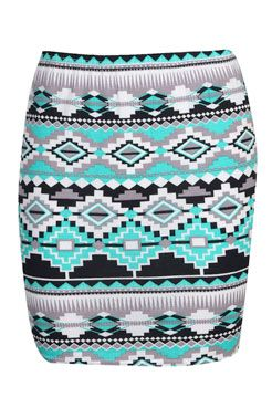 Steph Aztec Print Bodycon Mini Skirt