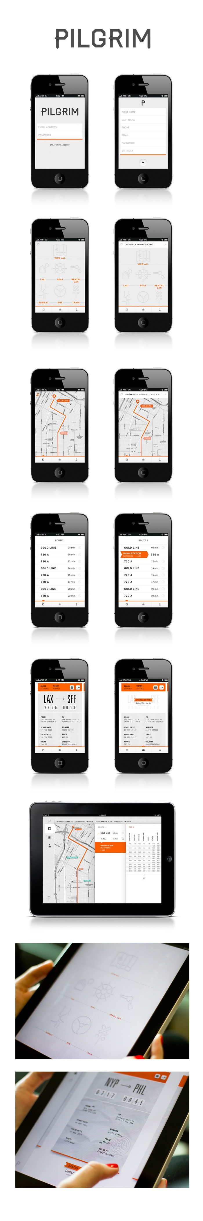 """Pilgrim by Nicole Gavrilles / via Behance / """"Pilgrim is a mobile application that will navigate you to your destination once you leave the airport. After the user enters his destination, Pilgrim will offer various routes and transportation options. We want the user to feel like they are on an adventure by providing them the freedom to pick the route they feel is the best"""""""