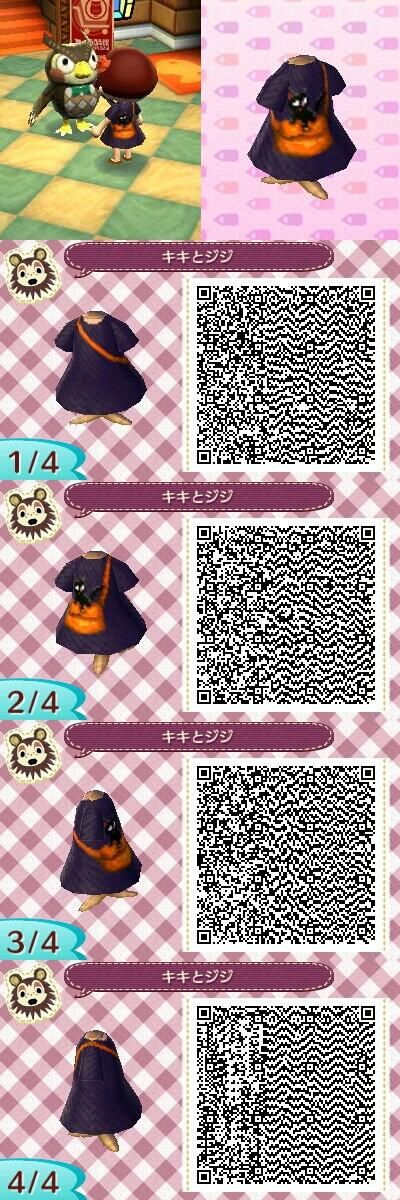 Animal Crossing: New Leaf Kiki's Delivery Service Outfit + Halloween/Food/Pokemon QR Codes Request