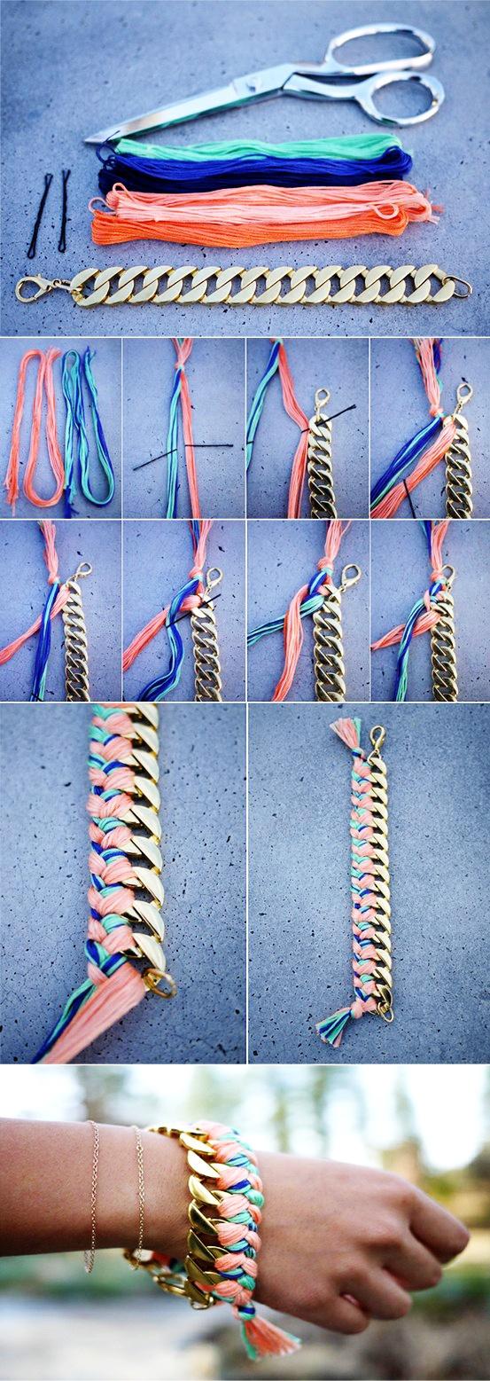 DIY link + embroidery thread bracelet