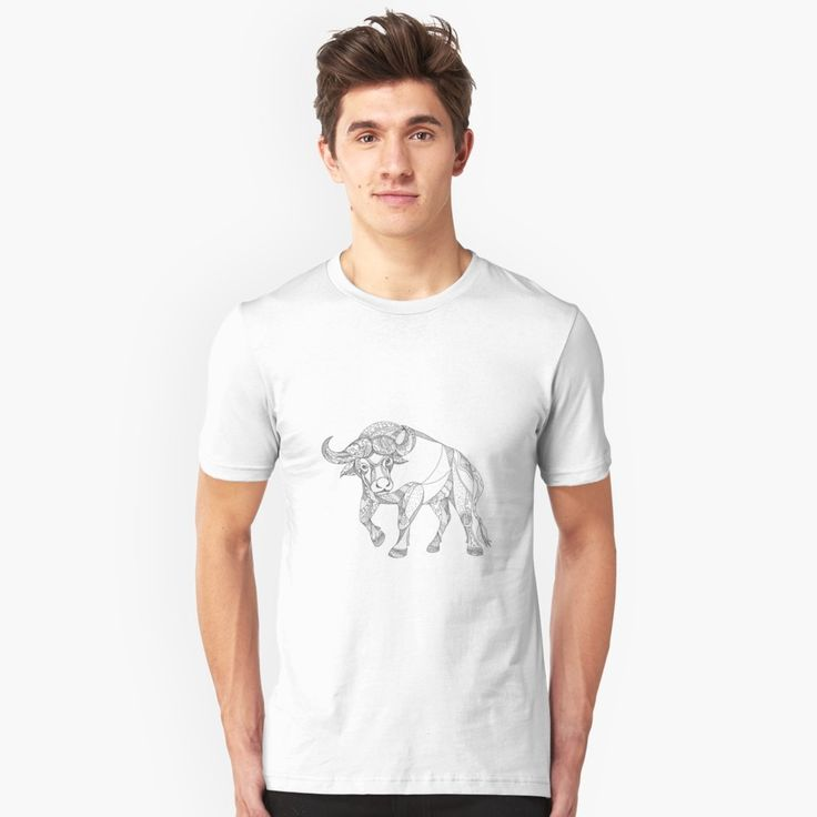 """""""African Buffalo Charging Doodle"""" Unisex T-Shirt by patrimonio   Redbubble  #africanbuffalo #buffalo #tshirt"""