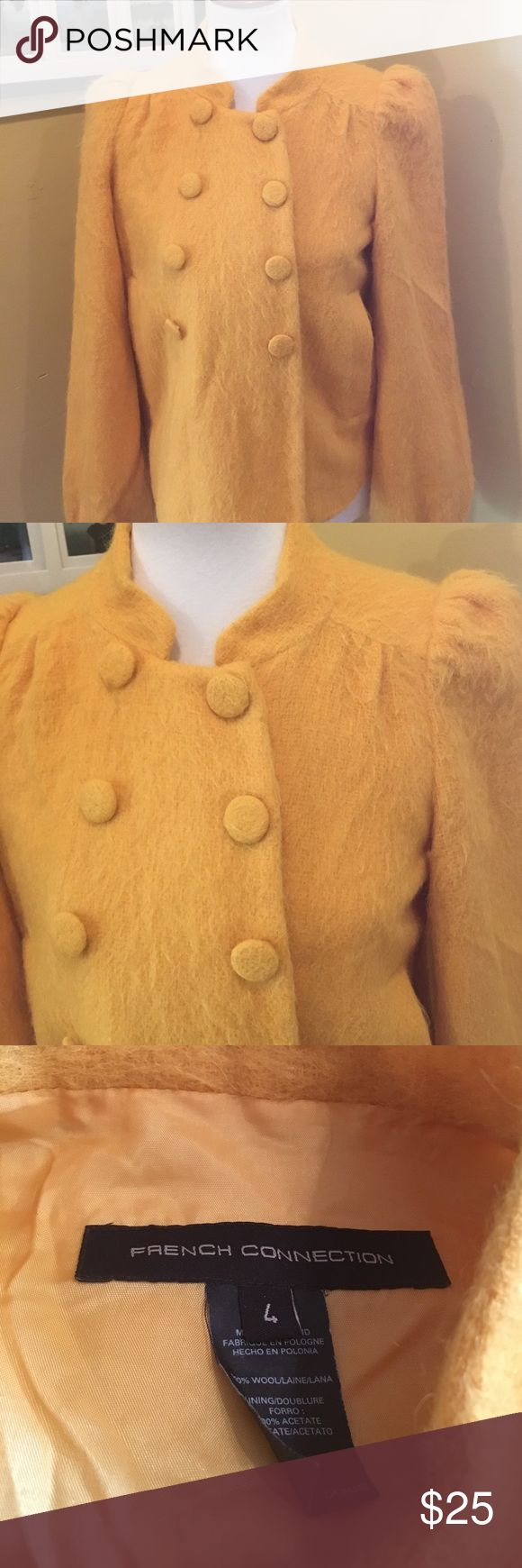 "French connection yellow wool jacket size 4 French connection wool jacket in a size 4. Fully lined, excellent shape. Length 23"", 19.5"" underarm to underarm French Connection Jackets & Coats Blazers"