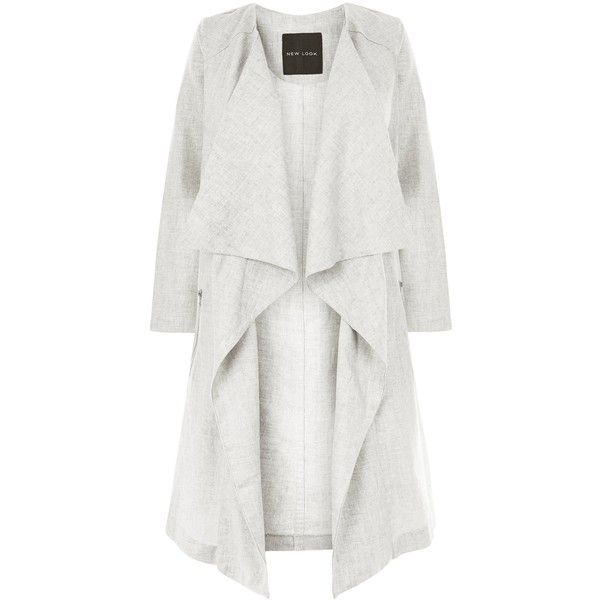New Look Grey Linen Waterfall Duster Coat 21 Liked On Polyvore