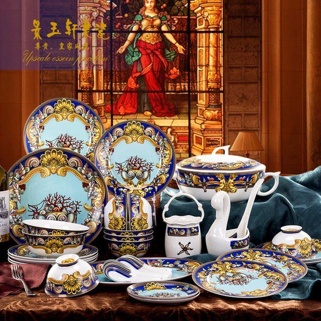30 шт. Цзиндэчжэнь керамическая посуда стиль полноценно костяного фарфора западной кухни Пномпень океан любви 12zp-5б