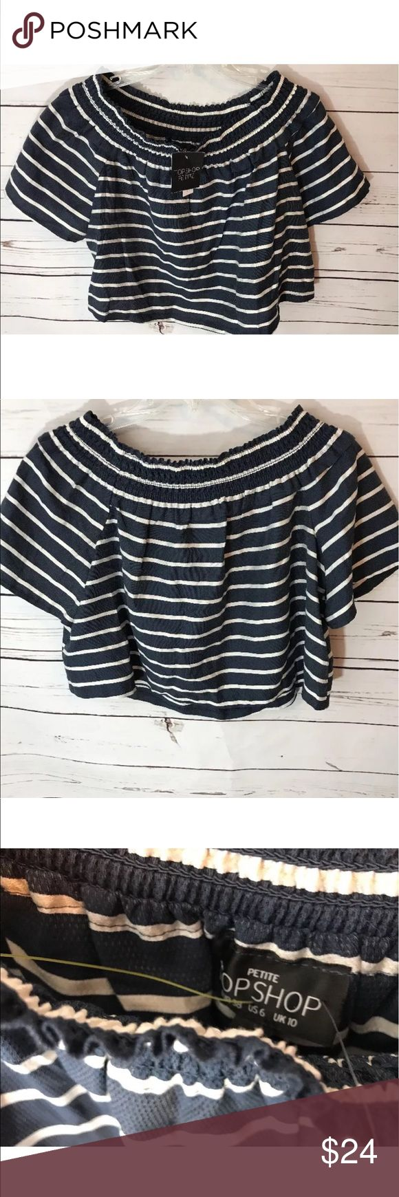 "Top Shop Petite cropped top Size 6 Navy/Cream New This item is new STYLE: Women's Cropped Top  BRAND: Top Shop  SIZE: 6  MEASUREMENTS: Chest/22""   COLOR: Navy/Cream   DESCRIPTION: This item is new with tag's Top Shop Tops Crop Tops"