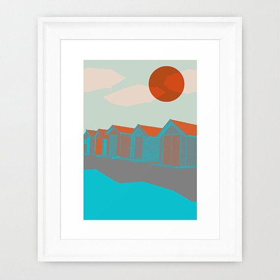 Grande stampa, grande arte, Giclée Art stampa case sulla spiaggia, grande poster, arte della parete, arte originale