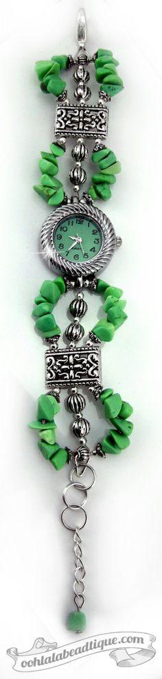 Green bracelet watch, green wrist watch, bead watch, adjustable watch, ladies…