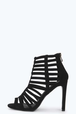 Cara Caged Gladiator Suedette Heels