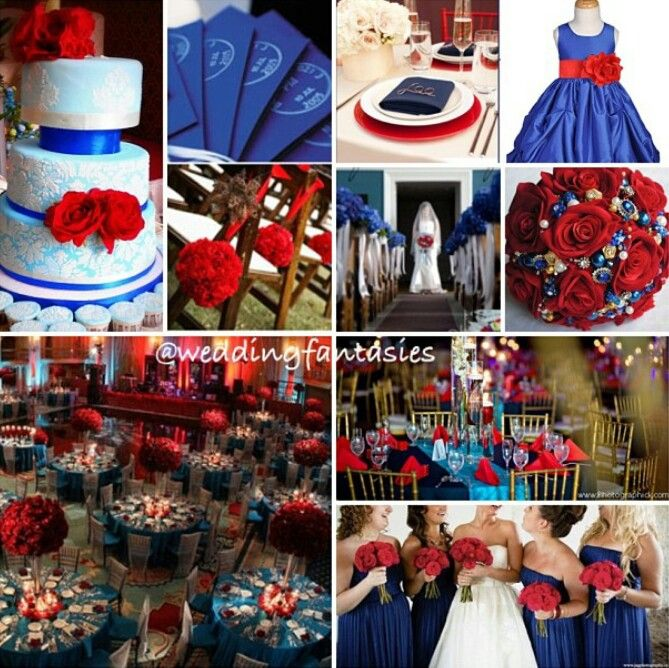 Dark Blue, Red and White Wedding Theme...every idea is exactly what I was picturing