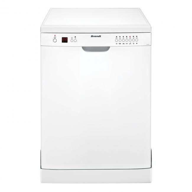 Lave vaisselle Brandt DFH12127W, Largeur 60 cm (12 couverts) - 47 dB, Consommation d'eau 12 L/cycle - Classe A+, Départ différé / Affichage du temps restant, Programme rapide / Programme Bio