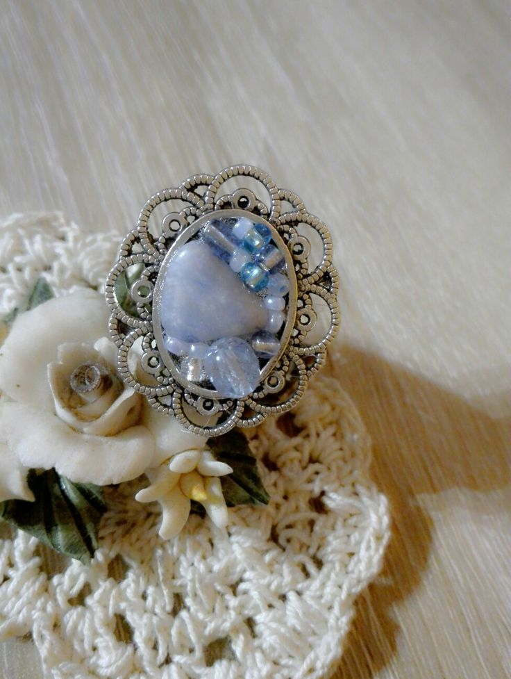 Light Blue Romance Ring  #ring #silver #lightbluee #stone #bead #diy #handmade #jewelry #ArtsBerry