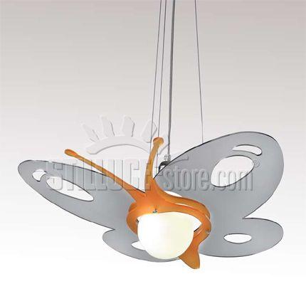 Toffolights Papillon lampada a sospensione. Diffusore in metacrilato specchiato, metacrilato colorato e metallo cromato. Disponibile nelle seguenti combinazioni di colore: arancio/specchiato (C9/C4), verde/specchiato (C9/C5), fucsia/specchiato (C9/C6), blu/specchiato (C9/C7).