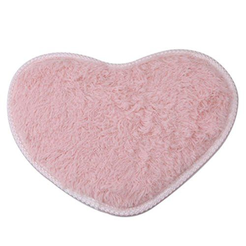 UNKE Heart Rugs Anti-Skid Area Rug Dining Room Carpet Home Bedroom Floor Mat Decor 3040cm,Pink  Microfibers bring about 7 multiples of water-absorbent ability of cotton  Machine washable, easy to clean  Widely used in the bathroom, kitchen, bedroom, balcony, living area and etc.  Non-slip TPR material, enjoy a more safety life  Practical flattering home decoration for you