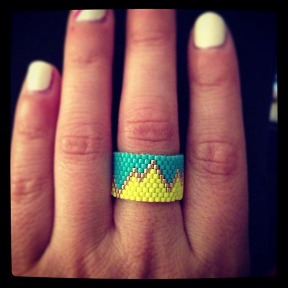 Handmade Beaded Ring  by ClaireElizabethDsign on Etsy