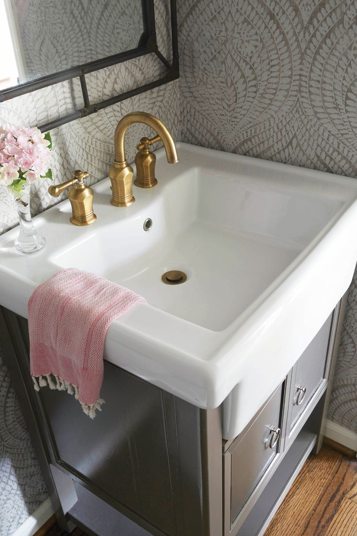 Marianne strong interiors powder bath wallpaper brass for Powder room bathroom vanities