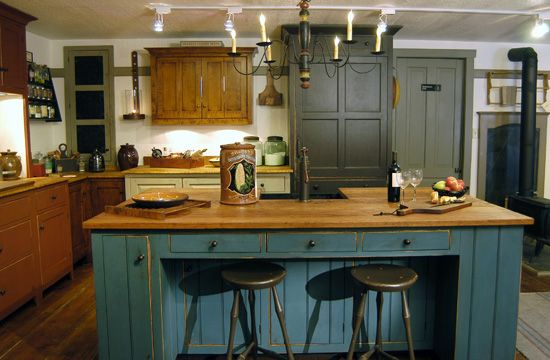 Great vintage kitchen island  Custom Kitchens, Colonial Kitchens