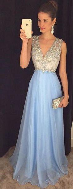 V Neck Floor Length Beading Prom Dress Party Dress