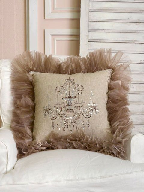 Shabby French Chic Tulle & Linen Brown Throw Pillow with Sparkle Chandelier - $95  Item#