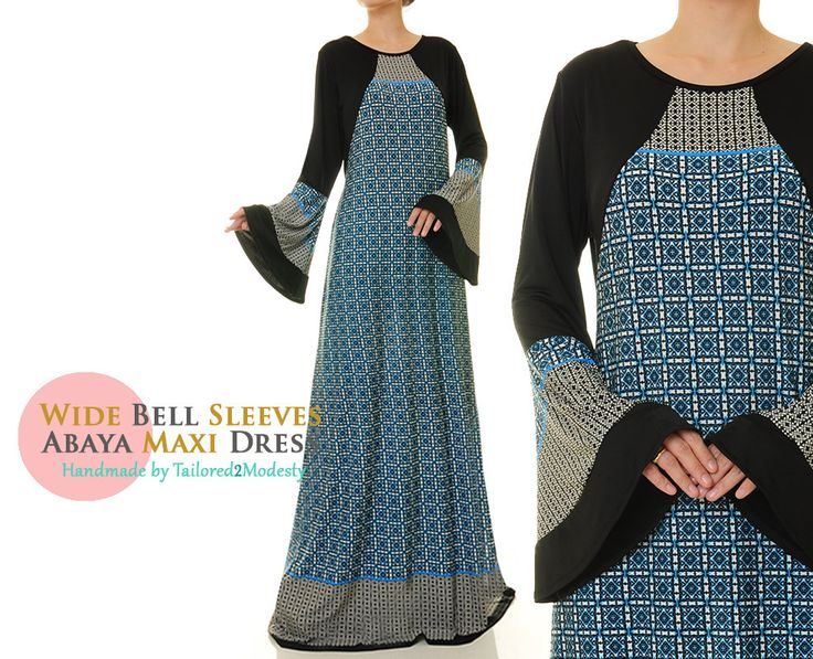 Ethnic Print Blue Wide Bell Sleeves Jersey Islamic Abaya Maxi Dress - Size M/L (6157) FREE SHIPPING! by Tailored2Modesty on Etsy