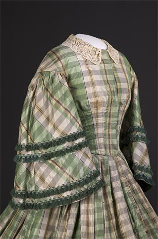 Green and cream plaid dress with pagoda sleeves