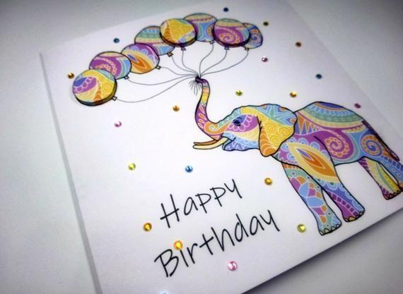Elephant Birthday Card Birthday Cards For Her Birthday Cards For Him Mandala Elephant In 2021 Happy Birthday Cards Diy Birthday Cards For Her Elephant Birthday