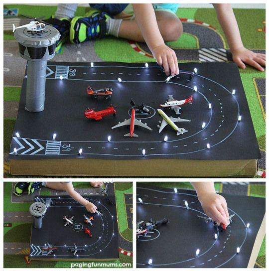 Upcycled Pizza Box Craft Idea - Make a mini Airport!