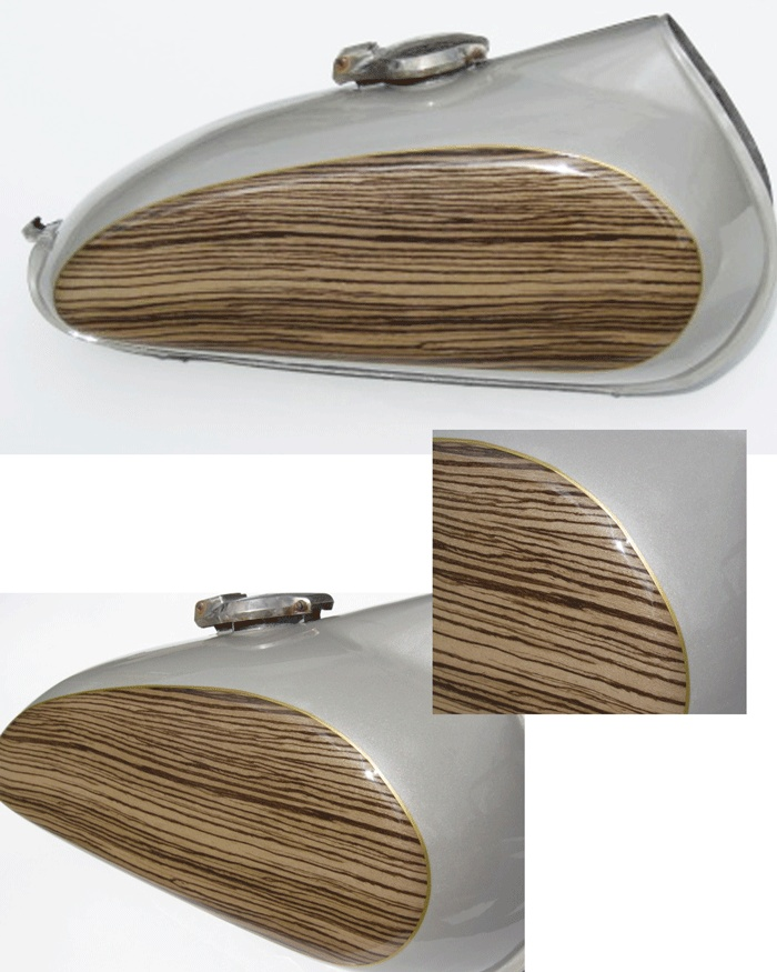 Woodgrain motorcycle gas tank eig custom products