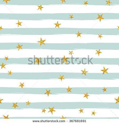 Gold glittering stars confetti seamless pattern on stripe background