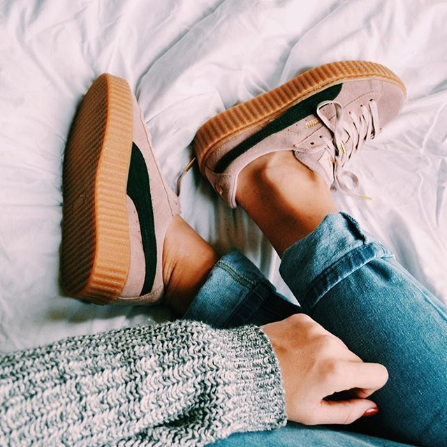 PUMA creepers in oatmeal pink