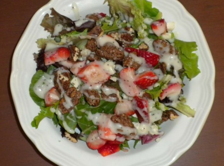 Yum... I'd Pinch That! | Strawberry Fields Salad with Poppy Seed Dressing and Candied Pecans