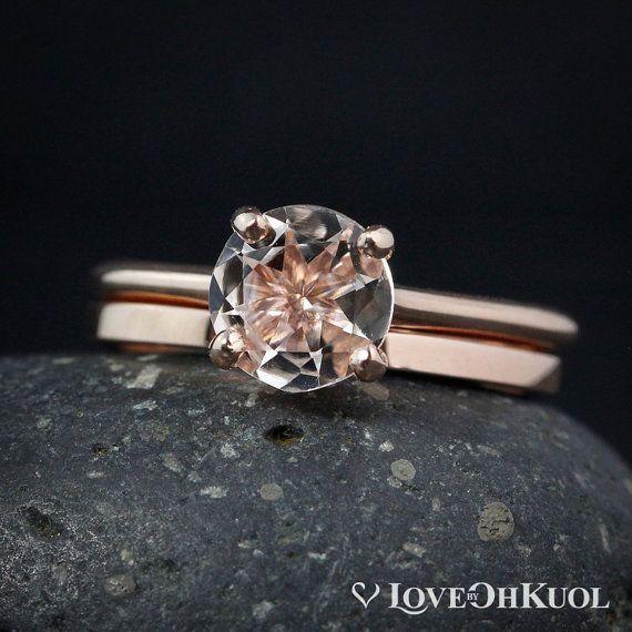 Morganite Ring - Pink Morganite Engagement Ring Set - Wedding Band, Natural Morganite