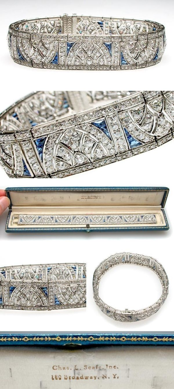 Art Deco Antique Platinum, Diamond & Blue Sapphire Cuff Bracelet, circa 1920